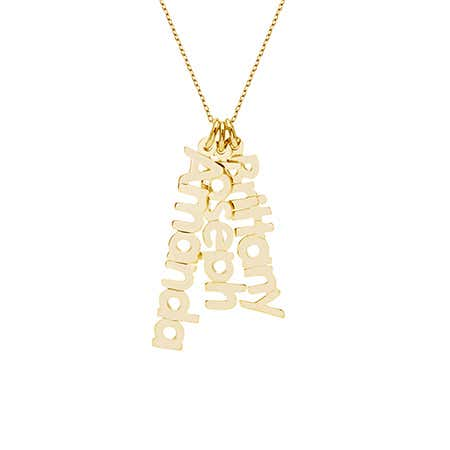 Dangling Family Nameplate Gold Vermeil Necklace
