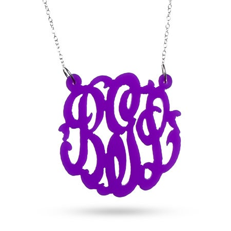 Purple Acrylic Monogram Necklace