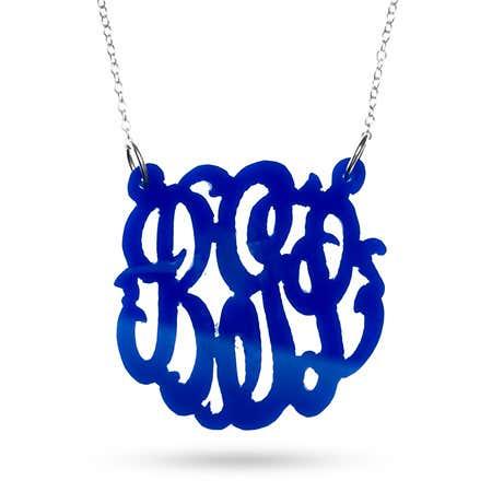 Blue Acrylic Monogram Necklace