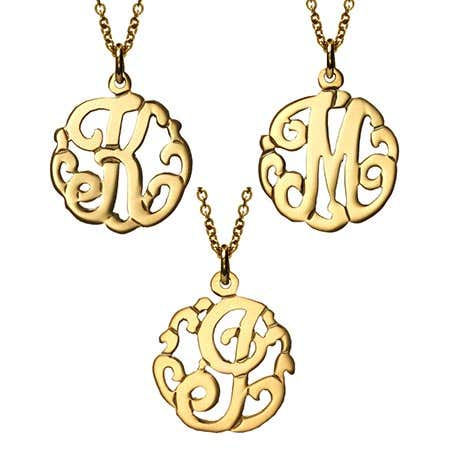 Petite Initial Gold Vermeil Monogram Style Necklace