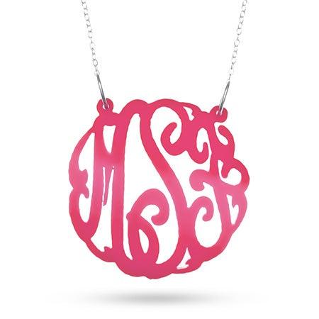 Pink Acrylic Monogram Necklace | Eve's Addiction®