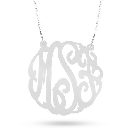 White Acrylic Monogram Necklace | Eve's Addiction®