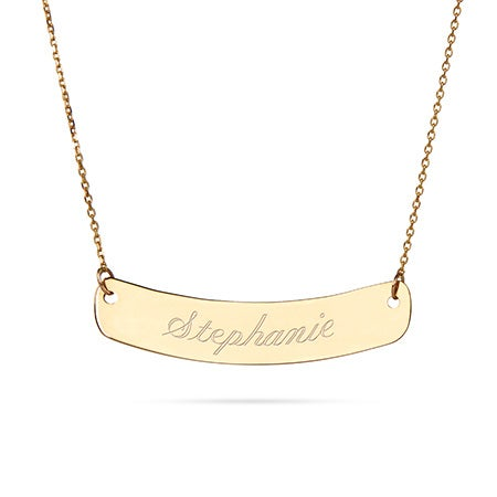 14K Gold Curved Bar Nameplate Necklace | Eve's Addiction®