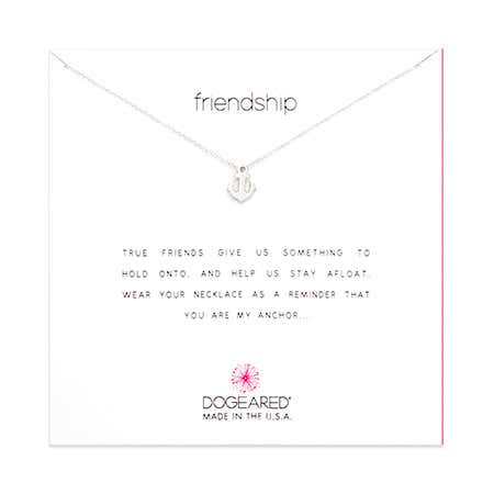 Dogeared Friendship Anchor Sterling Silver Necklace