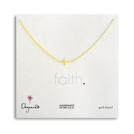 Dogeared Faith Sideways Cross Gold Dipped Necklace