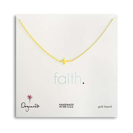 Dogeared Faith Sideways Cross Gold Dipped Necklace