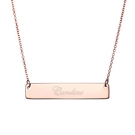 Engravable Rose Gold Name Bar Necklace