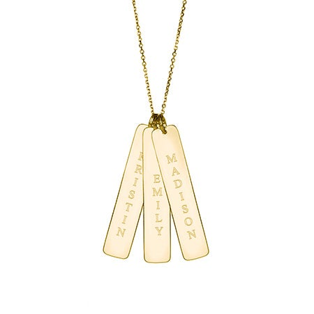 Triple Vertical Name Bar Pendant in Gold Vermeil | Eve's Addiction®