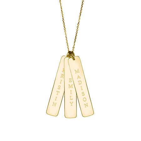 display slide 1 of 1 - Triple Vertical Name Bar Pendant in Gold Vermeil - selected slide