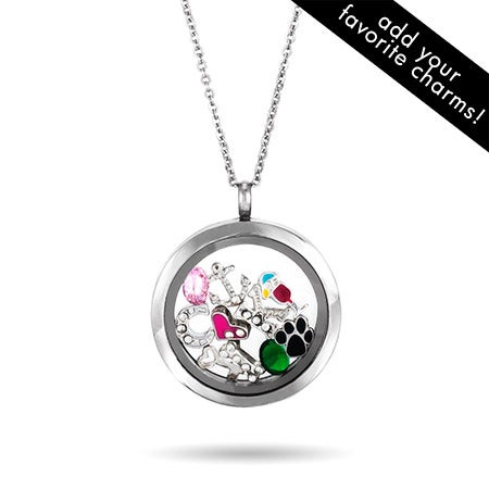Floating charm locket necklace round floating charm locket necklace aloadofball Choice Image