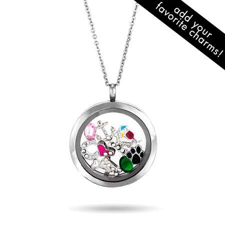 display slide 1 of 2 - Round Floating Charm Locket Necklace - selected slide