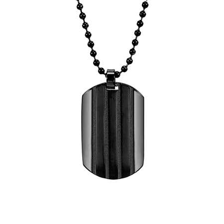 Engravable Black Ribbed Stainless Steel Dog Tag