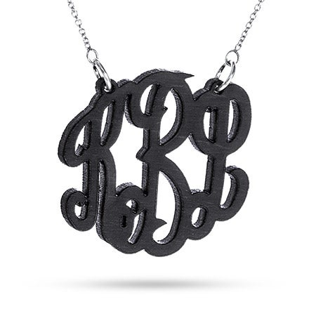 Black Maple Wood Carved Monogram Necklace | Eve's Addiction®