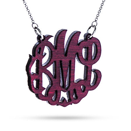 Red Maple Wood Carved Monogram Necklace