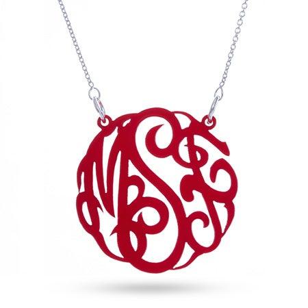 Red Acrylic Monogram Necklace