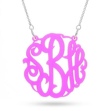 Fluorescent Pink Acrylic Monogram Necklace