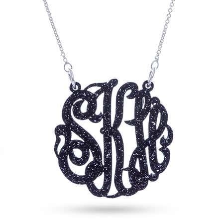 Black Glitter Acrylic Monogram Necklace | Eve's Addiction®