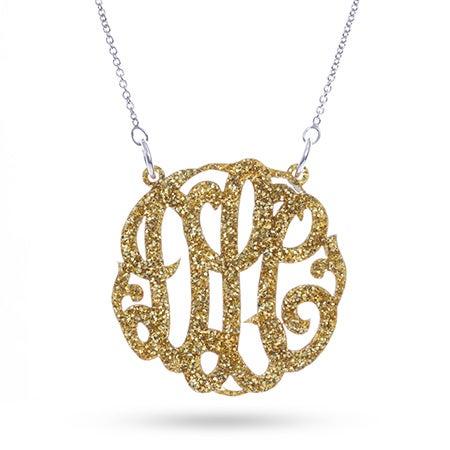 Gold Glitter Acrylic Monogram Necklace | Eve's Addiction®
