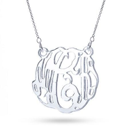 Silver Mirror Acrylic Monogram Necklace | Eve's Addiction®