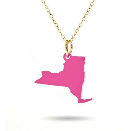 New York Pink Acrylic Charm Necklace with Gold Chain