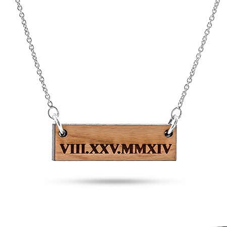 Wood Roman Numeral Bar Necklace