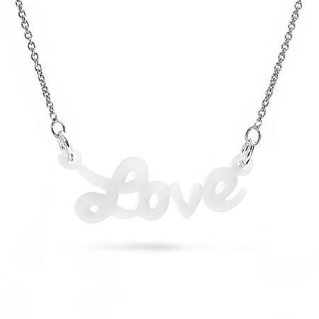 White Acrylic Love Necklace | Eve's Addiction