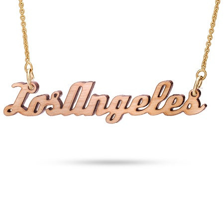 Cherry Wood Los Angeles Necklace with Gold Chain
