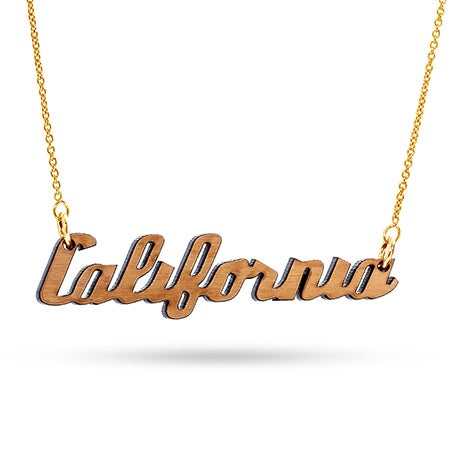 California Cherry Wood Necklace with Gold Chain