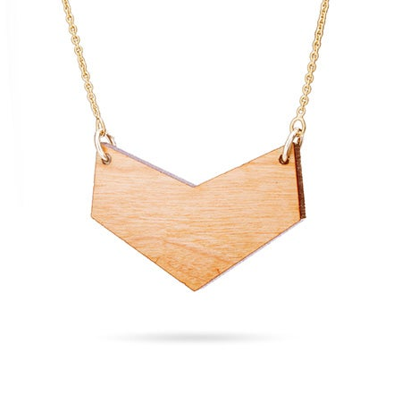 Cherry Wood Chevron Necklace with Gold Chain