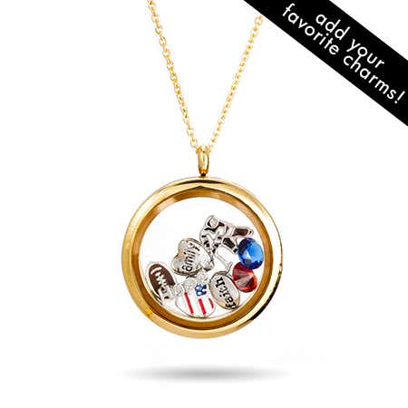 Gold Round Glass Floating Charm Locket