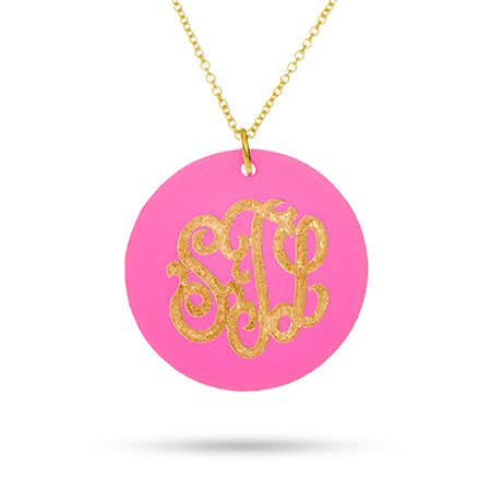 display slide 1 of 6 - Acrylic Monogram Round Tag Pendant - selected slide