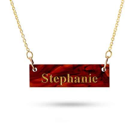 Acrylic Name Bar Gold Vermeil Necklace