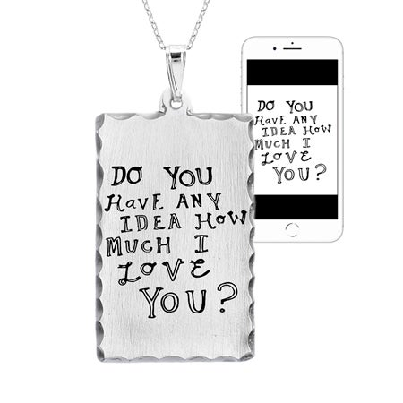 Personalized Handwritten Dog Tag Pendant