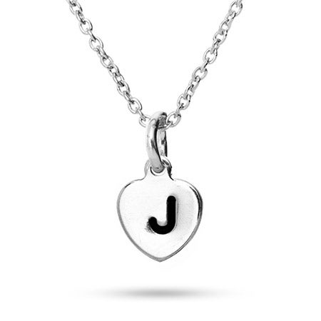 Hand Stamped Heart Initial Necklace | Eve's Addiction