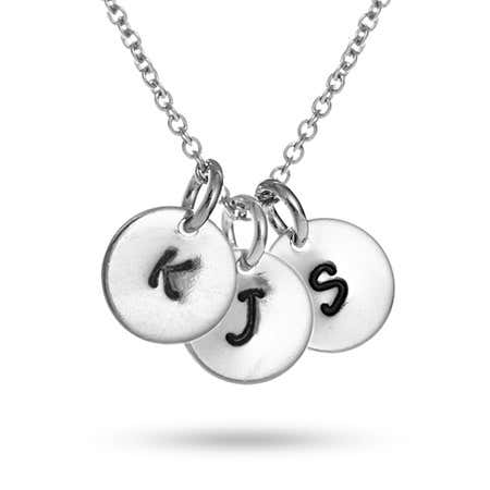 display slide 1 of 4 - Hand Stamped Triple Tag Mini Initial Necklace - selected slide