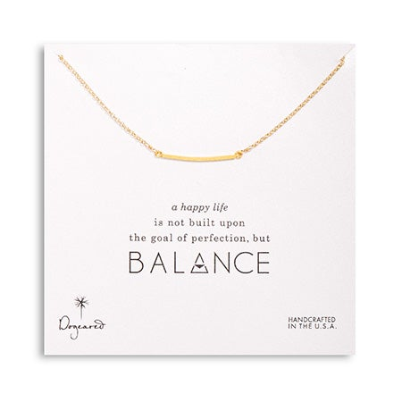Dogeared Balance Square Bar Gold Dipped Necklace