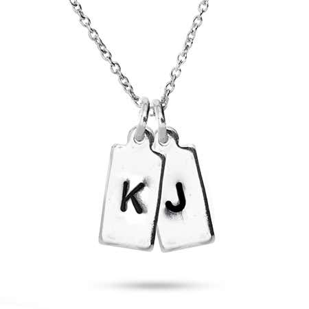 Hand Stamped Double Rectangle Tag Mini Initial Necklace