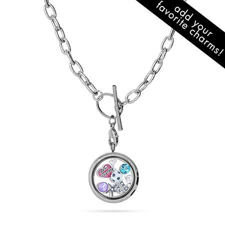 Round Build A Charm Floating Locket on Toggle Chain