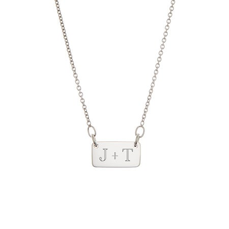 Engravable 2 Initial Plaque Bar Silver Necklace