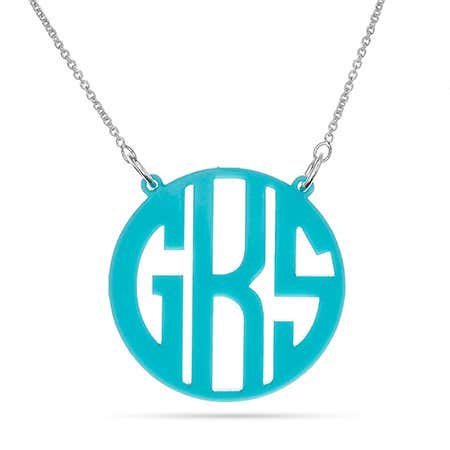 Block Style Acrylic Monogram Necklace