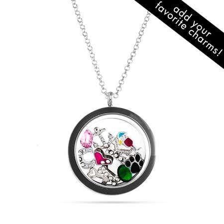 Black Floating Charm Locket Necklace