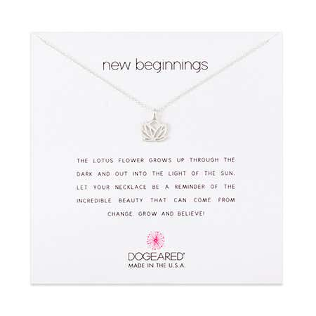 Dogeared New Beginnings Lotus Sterling Silver Necklace