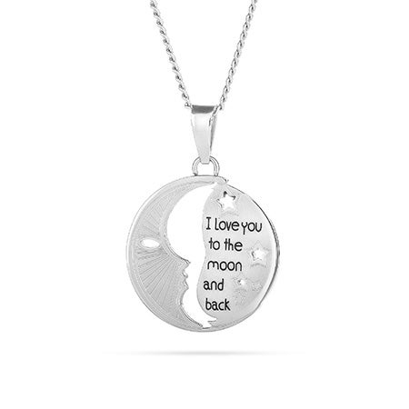 I Love You To The Moon and Back Cut Out Pendant