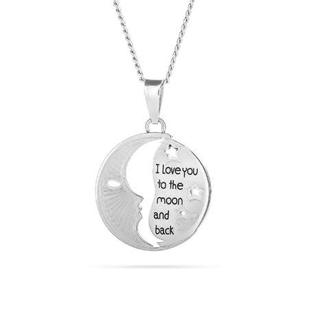 display slide 1 of 1 - I Love You To The Moon and Back Cut Out Pendant - selected slide