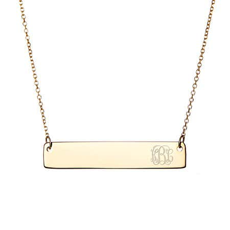 Petite Script Monogram Gold Vermeil Bar Necklace