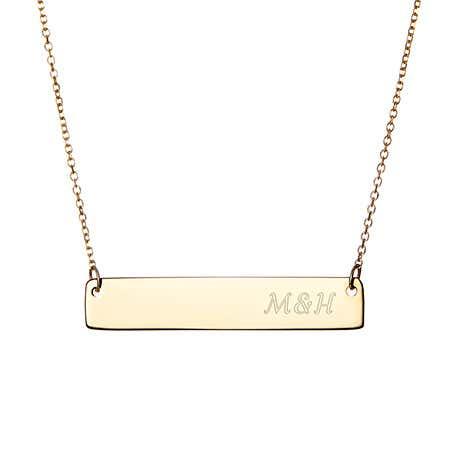 Engravable Gold Vermeil Couples Initial Bar Necklace