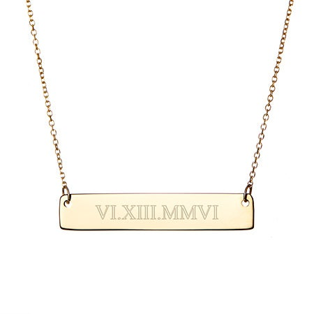 Roman Numeral Gold Bar Necklace