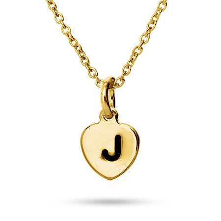 Hand Stamped Gold Plated Heart Initial Necklace