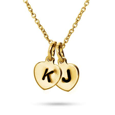 Hand Stamped Gold Vermeil Two Heart Charm Initial Necklace