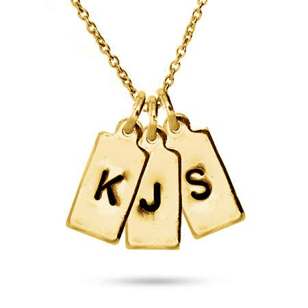 display slide 1 of 4 - Hand Stamped Gold Plated Three Rectangle Initial Charm Necklace - selected slide